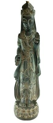 "Vtg 55"" Hollywood Regency Kwan Yin Entry Accent Figural Statue Lotus Torch Lamp"