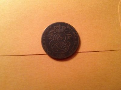 KM4 1861 Belgium 2 Centimes Coin Circulated Ungraded