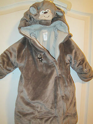 Gray Monkey Halloween Costume Bunting Infant Size 0-6 Months Carter's