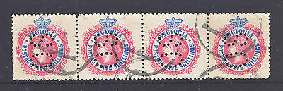 Victoria 5/ Red And Blue Qv Used Strip Of 4   Perf Os.