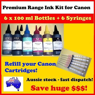 Premium quality 6 x100 ml refill bulk ink for Canon Cartridges + 6 Syringes
