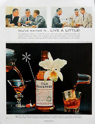 Vintage 1957 Old Forester Kentucky Bourbon Whisky men advertisement print ad