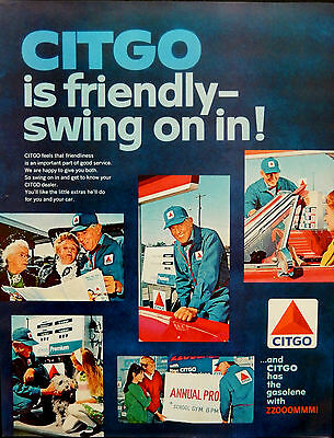 Vintage 1966 Citgo gas station swing on in man original paper ad avertisement.