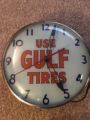 2 day SALE Orig. 1940's Use Gulf Tires Soda Lighted Telechron Advertising Clock