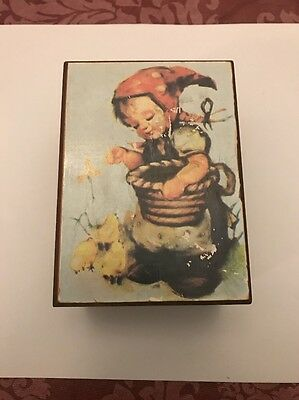 Old Toyo Wooden Music Box With European Folk Child On Front- Free Shipping