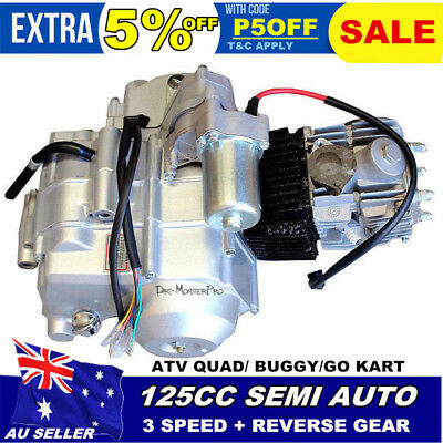 125cc SEMI AUTO ENGINE MOTOR W' REVERSE 4 ATV QUAD GO KART 3+1 Electric Start