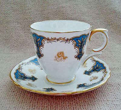 Crown Staffordshire Demitasse Cup & Saucer~Turquoise~White~Gold Scrolls & Trim