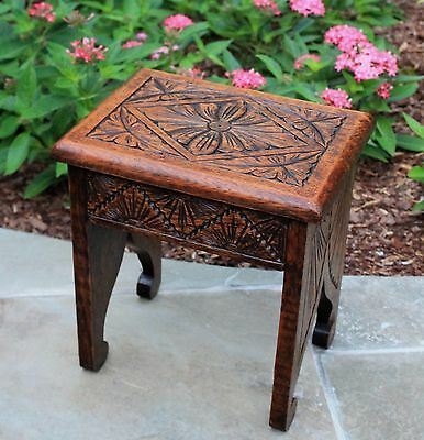 Antique English Oak Highly Carved Petite Bench Foot Stool Kettle / Plant Stand