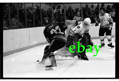 PETE PEETERS & BRAD PARK 1980s 35mm b&w negative BOSTON BRUINS hockey goalie