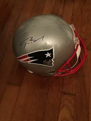 Tom Brady Signed New England Patriots FS Replica Helmet Mounted Memories COA