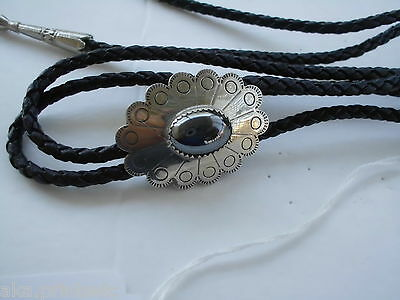 Bolo Tie, Gem Stone  Leather, Silver Toned, Nos Vintage Bb-08