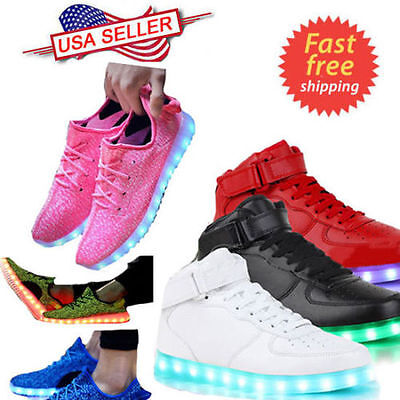 High Top LED Light Lace Up Unisex Sportswear Sneaker Casual Luminous Shoes New