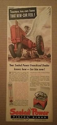 1948 Sealed Power Piston Rings Tractor ad New Car Feel