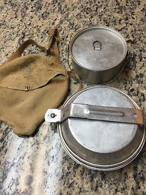 Vintage 1950s Mess Kit Boy Scouts Camping Hiking Dishes Military Pan Pot Plate