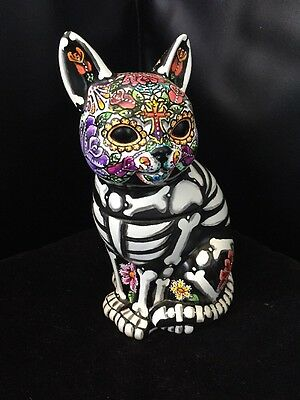 Day of the Dead Painted Sugar Skull Kitty Cat Kitten Statue Cookie TreatPet Urn