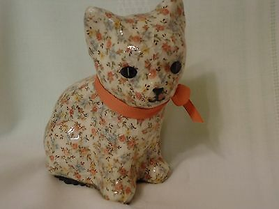 Calico Capers Sitting Floral Chintz Kitten Cat Figurine