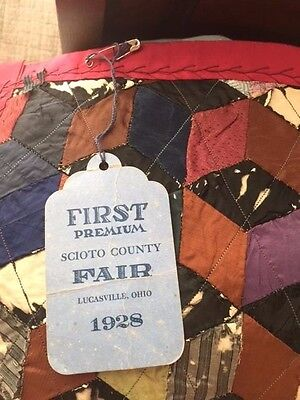 "Antique Crazy Quilt, FIRST PLACE WINNER 1928, Dated 1883 and Signed 74""x74"""