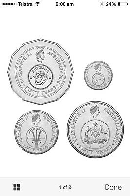 50 th Aniversary Coins X4   5-10-20-50 Out Of Mint Bag UNC