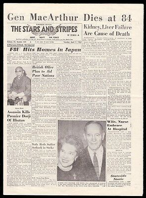 The Stars and Stripes newspaper April 7 1964 death of General MacArthur