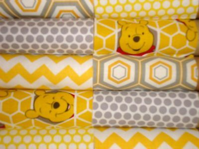 """10 of 4 1/2"""" CHARM SQUARES - WINNIE THE POOH - COTTON FABRIC 4 PATCHWORK"""
