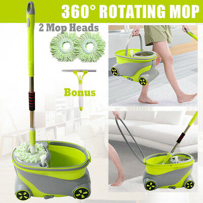 360°Spinning Mop Stainless Steel Spin Dry Bucket Microfibre Head Dehydrat Mops