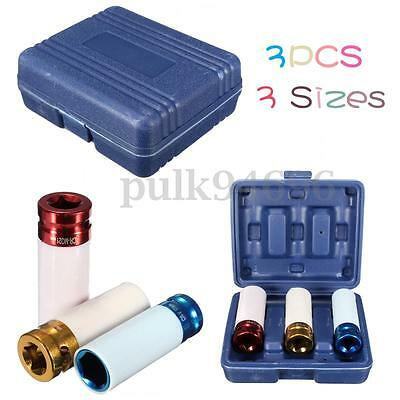 "3PCS 1/2"" 17/19/ 21mm Alloy Thin Wall Wheel Deep Impact Nut Socket Driver Set AU"