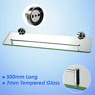 Bathroom Wall Mounted 500mm Shower Vanity Single Glass Shelf Storage Holder SS