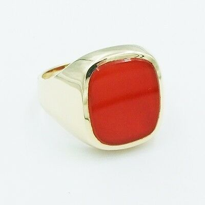 Karneol Ring 585er Gold ca. 14,8 g Gr.21,6 (68)