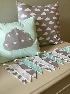 2 HANDMADE GREY GREEN WHITE CLOUDS CUSHION COVERS vintage modern nursery stripe