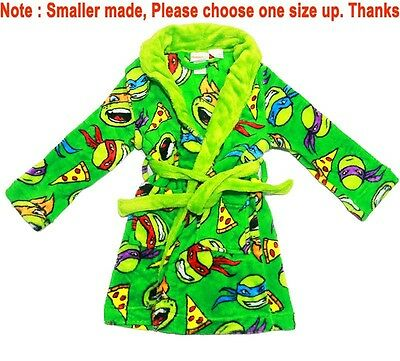 New Sz 4-12 Kids Winter Dressing Gown Boys Tmnt Ninja Turtle Pjs Nightie Robe
