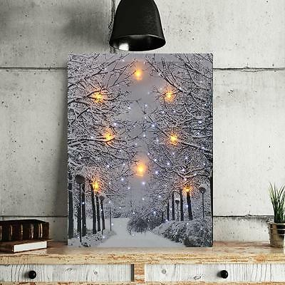LED Tree Snow Lighted Canvas Painting Print Home Wall Art Hanging Picture Decor