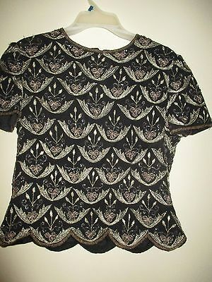 Papell Boutique Beaded Evening Blouse Size M