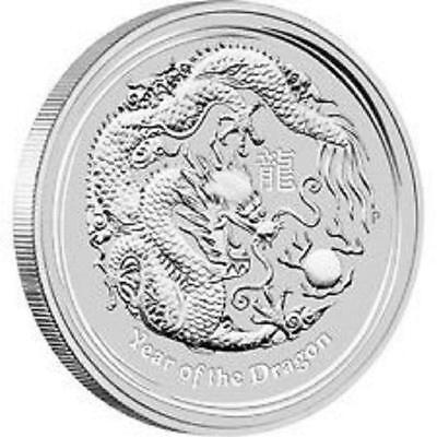 """Lunar 2012  Pièce argent 0,5 Once  """" Year of the Dragon """"  0.5 oz Silver Coin"""