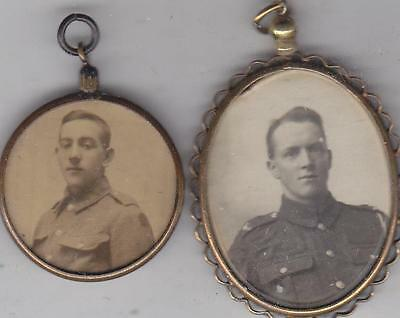 2 World War 1 Soldiers Photos In Rolled Gold Pendant Frames  M3