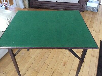 """Folding Green Baize Topped Card Table 29"""" X 34"""""""