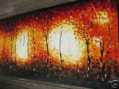 Massive Large  Bushfire Dreaming Aboriginal Art Painting Texture Oils By Jane