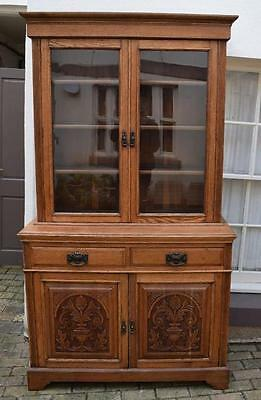 Antique Arts and Crafts Solid Oak  Glazed Bookcase Cabinet/Display FAB!