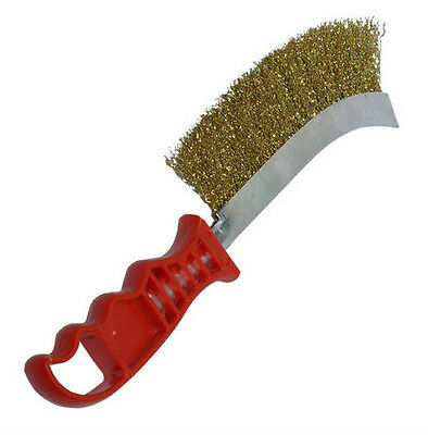 Brass Steel Wire Brush Scratch Rust Cleaning Dense Wires With Plastic Handle