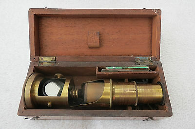 Antique Wood Cased Brass Students Microscope