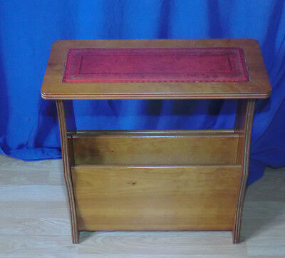 Yew Wood Magazine Rack with Red Leather Top