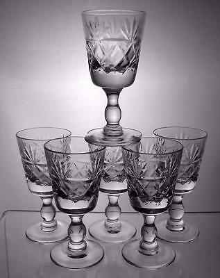 Six Royal Brierley Crystal Cut Glass Liqueur Glasses Bruce Pattern Perfect Gift