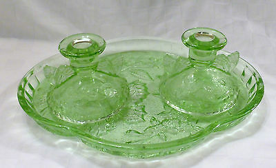 Art Deco Bagley Sowerby Green Glass Dressing Table Set Butterfly Pattern 1930s