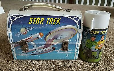 1968 Star Trek Metal Dome Lunchbox w/Thermos - Shatner Nimoy