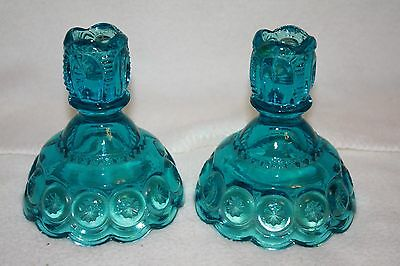 L.E. Smith Moon & Stars Colonial Blue Candle Holders Model # 5231