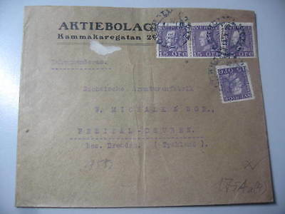 Lettre Ancienne Suede 1925 Recommandee