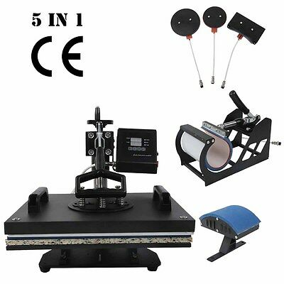 Digital Transfer Sublimation T-Shirt Mug Hat Plate Cap 5 in 1 Heat Press Machine