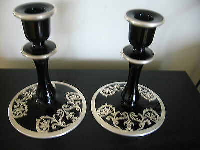 Pair Of Black Amethyst Silver Overlay Candlesticks