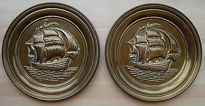 Pair of vintage retro brass effect metal Wall Plaques tall sailing ships galleon