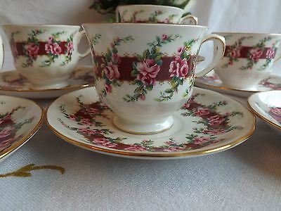 Pretty Vintage Queen Anne Pink Rosebuds Set Of 6 Coffee Cups 8534