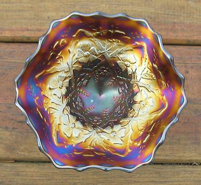 """Northwood """"blossomtime"""" Amethyst Carnival Glass Ftd. Ruffled Compote"""